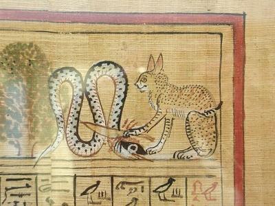 """Ра в облике Кота убивает змея Апопа. Фрагмент виньетки из """"Книги мертвых"""" Хунефера, XIX династия"""