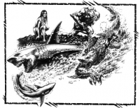 Рокеи, оборотни-акулы. Иллюстрация из руководства к ролевой игре «Werewolf: the Apocalypse»