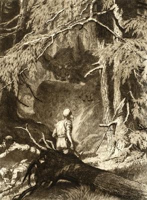 "Курбад и сумпурнис (Kurbads un sumpurnis). Офорт Рихарда Зариньша из цикла ""Ko Latvijas meži šalc"" (1911)"
