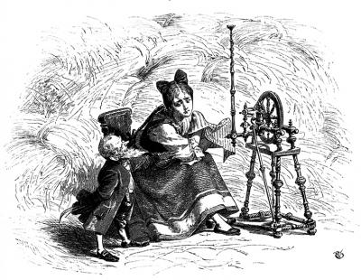 Румпельштильцхен (Rumpelstilzchen) и дочь мельника. Иллюстрация Филиппа Грот-Иоганна к сказке братьев Гримм
