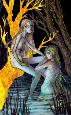 Русалки. Иллюстрация Лидии Магоновой (Ink-Yami)
