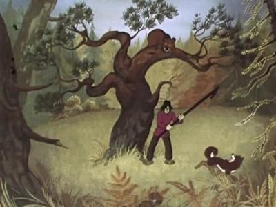"""Кадр из мультфильма """"Седой медведь"""" 1988 года"""
