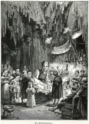 Служанка и гномы (Die Wichtelmänner). Иллюстрация Филиппа Грот-Иоганна к сказке братьев Гримм