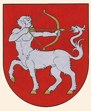 Гиппоцентавр на гербе поселка Сесикай (Литва)