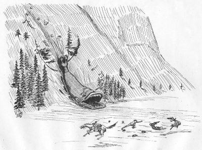 """Делювиальный болтер. Иллюстрация Кёр Дю Буа из книги """"Устрашающие твари промысловых лесов"""" (1910)"""