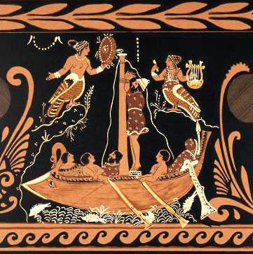 Одиссей и сирены. Чернофигурная керамика, прим.340 г. до н.э.