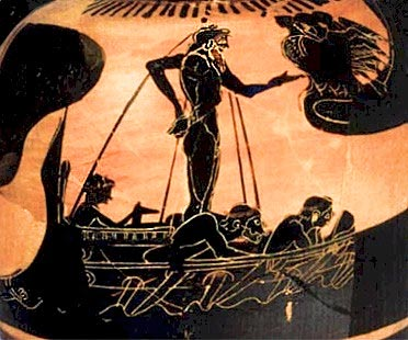 Одиссей и сирены. Чернофигурная ойнохойя, прим.520 г. до н.э.