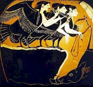Сирены. Чернофигурная ойнохойя, прим.525-475 гг. до н.э.