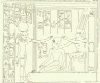 """Львиноголовая богиня Пахт. Прорисовка барельефа из пещерного храма """"Speos Artemidos"""""""