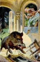 Храбрый портняжка и кабан. Иллюстрация Г.Хинке к сказке братьев Гримм