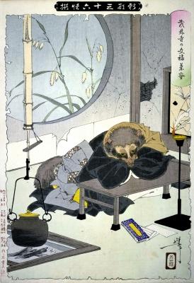 Тануки. Иллюстрация Цукиока Ёситоси, 1889-1892 годы