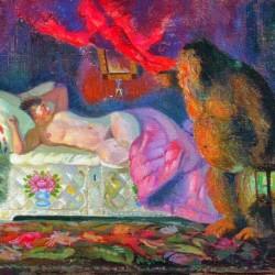 """Картина Кустодиева Б.М. """"Купчиха и домовой"""" (1922)"""