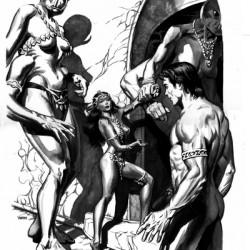 Первая встреча Джона Картера и Деи Торес. Иллюстрация Томаса Йетса