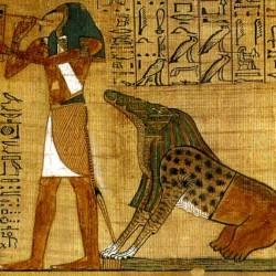 Бог Тот и чудище Амт. Рисунок на папирусе