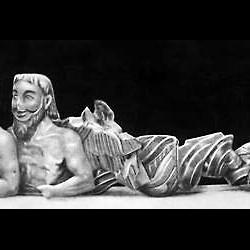 """""""Трёхглавый Тифон"""". Известняк. 6 век до н.э."""