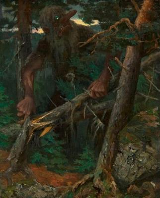 Тролль в Хедальском лесу (Trollet på Hedalskogen). Картина Теодора Киттельсена, около 1886 года