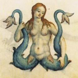 Мелюзина-сирена на открытке первой половины ХХ века