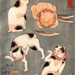 Кошки. Автор рисунка Утагава Куниёси