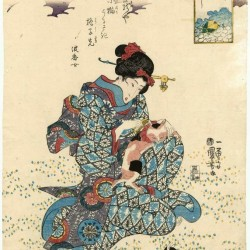 Женщина и микэнэко. Автор рисунка Утагава Куниёси