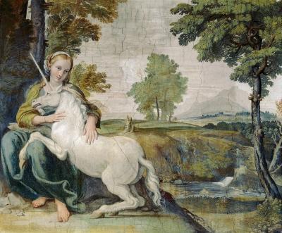 Девушка с единорогом. Деталь фрески Доминико Вампьери, 1602-1608 годы