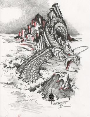 Гаргулец (Рыпач). Иллюстрация Ивана Онякова к бестиарию Сапковского