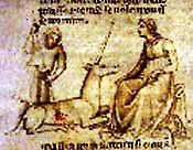 Охота на единорога. Иллюстрация из средневекового манускрипта
