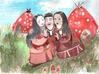 Челькутх и девушки-мухоморы. Рисунок Маргариты Жуковой
