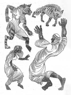 Гиены-оборотни. Иллюстрация к суданской сказке