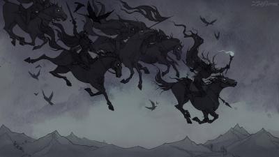 Дикая охота. Иллюстрация Ксении Свинцовой
