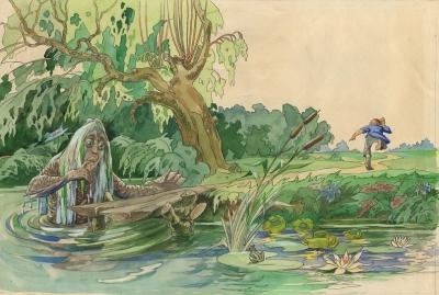 Су Анасы. Иллюстрация Байназара Альменова к одноименной сказке Габдуллы Тукая